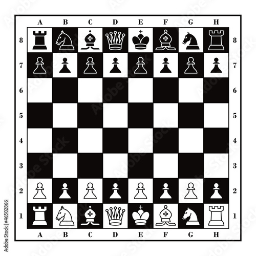 Set of Chess figures with wooden square checkmate board