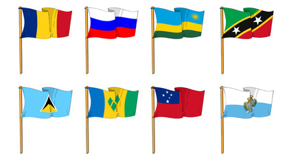 Hand-drawn Flags of the World - letter R & S