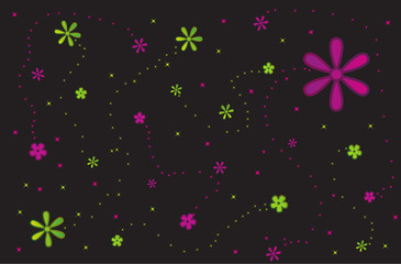 Flower background with glowing stars Vector
