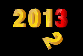 3D gold and red New Year 2013, end 2012, Vector
