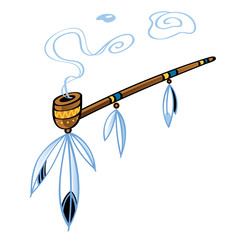 Indian smoking Pipe american tradition bird feather