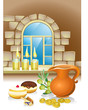hanuka still life background with candles, donuts and window