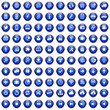 100 Vektor Buttons Icon Set Blau
