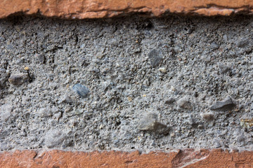 cement between bricks in a wall