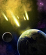Earth, moon and asteroids - 46505087