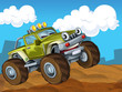 The off road cartoon car - illustration for the children