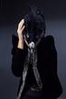 beaty girl in mask posing