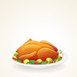 Festive Thanksgiving, Christmas Turkey. Vector Illustration