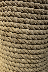 Closeup of Roped Wrapped around Piling