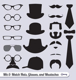 Vector Set: Mix of Glasses, Hats, Mustaches, and Ties