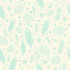 Winter seamless pattern with christmas tree branches