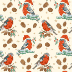 Christmas seamless retro background with bullfinch bird