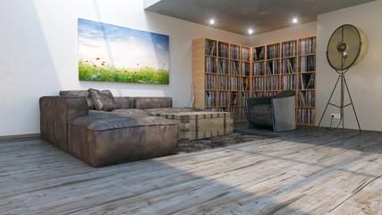 Galerie Wohnung mit Vinyl Plattenregalen und Wandbild 3D