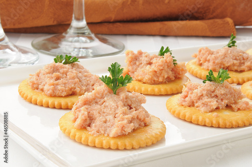 Ham salad on crackers