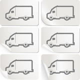White sticker with delivery truck set