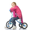 Little girl on bicycle, white background