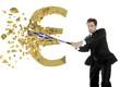 Greek businessman breaks the euro with a baseball bat