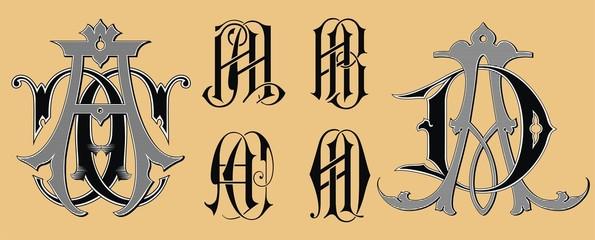 Vintage monogram  AA AB AC AD tattoo