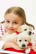 Best friends - little girl with cute puppies