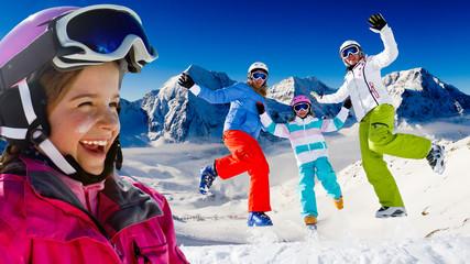 Ski, snow, sun and winter fun - happy ski team