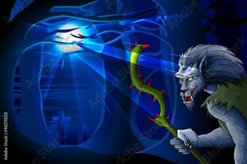 vector illustration of wolfman in graveyard for Halloween night