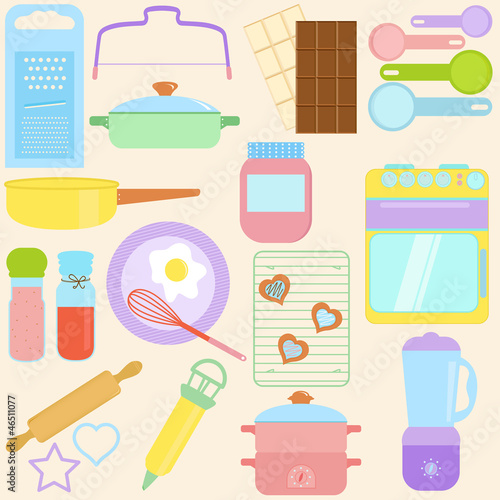 Vector collection of Cooking, Baking Tools in Pastel