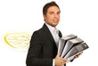 Businessman busy as a bee with folders