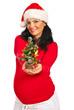 Happy pregnant woman giving Xmas tree