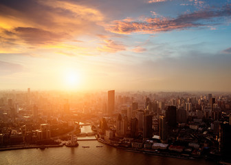shanghai pudong skyline at sunset