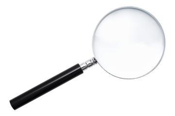 白背景に虫眼鏡のアップ