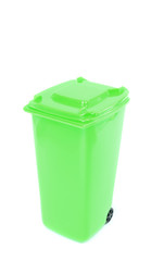 A green recycling wheelie bin on white background
