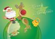 Karte Weihnachtsmann und Rudi auf Kugel