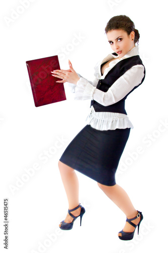 Girl in a business suit with a folder