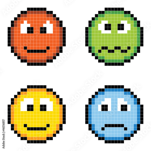 Deurstickers Pixel Pixel Emotion Icons - Angry, Sick, Happy, Sad