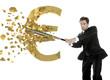Italian businessman breaks the euro with a baseball bat