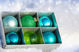 Colored Christmas balls in a box