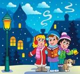 Fototapety Christmas carol singers theme 3