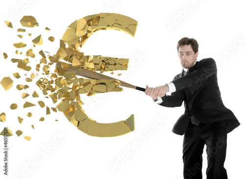businessman breaks the euro with a baseball bat