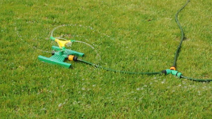 Lawn sprinkler splashing water over green grass.