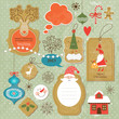 Set of Christmas and New Year vintage elements