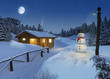 log cottage in a winter christmas scene