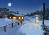Fototapety log cottage in a winter christmas scene