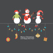 Snowmen Group, Greeting Card