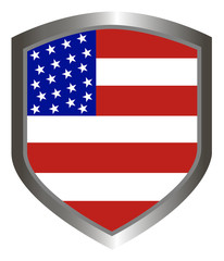 USA flag inlay on metal shield emblem