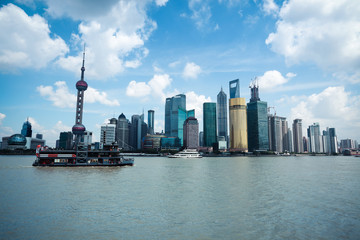 shanghai skyline with cruise