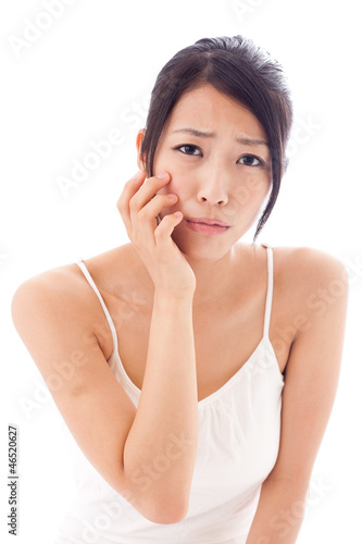 beauty image of attractive asian woman on white background