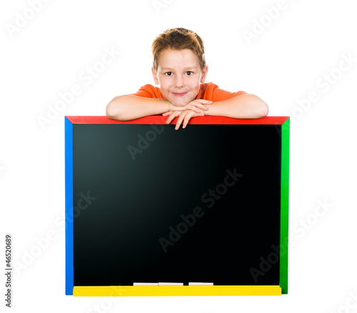 little boy with a board