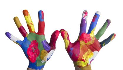 Mani colorate aperte