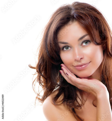 Girl Isolated on a White Background. Perfect Skin. Beauty Face