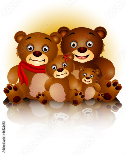cute bear family in harmony